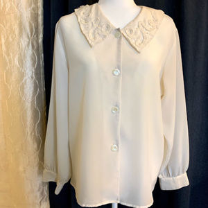 White Button Down Blosue with Embellished Collar